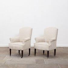 Pair of Antique Upholstered French Armchairs. Late 19th Century.