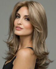 Synthetic Hair Lace Front Wig Brown Mixed Blonde Long Straight Heat Resistant 24