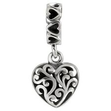 SilveRado Sterling Silver Hanging Filigree Heart European Pan Dora Charm Bead