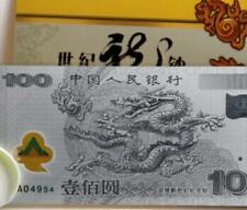 China 2000 Millennium ¥100 Dragon Banknote With Folder, 999 2g Silver Banknote
