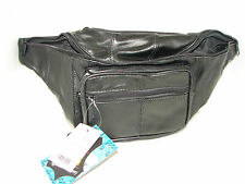 Concealed Carry Black Leather Fanny Pack