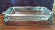 SILVER PLATE CASSEROLE DISH HOLDER 4 FOOTED -BY I.S. CO-2 HANDLES-12x5.25 INCHES