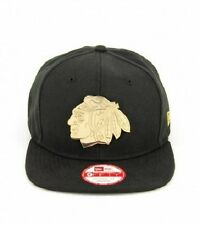 Chicago Blackhawks New Era Fit Original Gorra con el logotipo de metal de oro-Bnwt