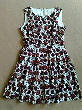 SEXY URMODA RED BLACK WHITE ROSE PRINT SLEEVELESS SKATER SHORT DRESS SIZE 10 VGC