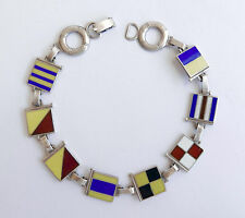 WWII Vtg Sterling Silver Enamel Nautical Marine Signal Flag -Good Luck Bracelet