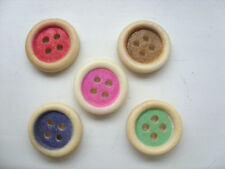 50 pcs Coloured Wood  Scrapbooking // Sewing Buttons   15mm