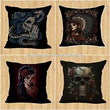 wholesale 4pcs sugar skull Day of the Dead dining chair cushion cover