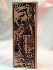 Magenta Vintage Lady Woman in Apple Orchard Tree with basket hat Rubber Stamp