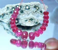 17 RARE GEM GRADE NATURAL FACETED RUBY RED SPINEL BEADS STRAND 14.5ctw 4.5-6mm
