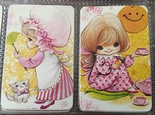 Playing Swap Cards = 2 Single  70's Cute Children Babies Blank Back Joy Like B24