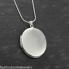 Oval Locket Necklace - 925 Sterling Silver - Holds 2 Photos, Snake Chain NEW