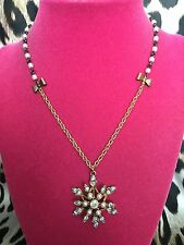Betsey Johnson Snow Angel Winter Snowflake Crystal Pearl Bow Necklace VERY RARE