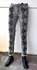 J Brand/ Christopher Kane Grey Lace Embroidered Frayed-cuff Jeans Sz 24 NWT RARE