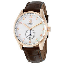 Tag Heuer Carrera Heritage Silver Dial Brown Leather Automatic Mens Watch
