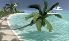 New XL ISLAND BEACH SCENERY WALLPAPER MURAL Tropical Palm Trees Scene Wall Decor