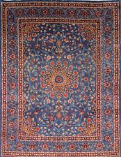 Breathtaking Class Floral Blue Color 8x11 Kashmar Persian Oriental Area Rug Wool