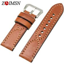 26mm Light Brown Watch Band Strap THICK Genuine Leather Stainless Steel Buckle