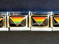 RAINBOW TRIANGLE GAY RIGHTS PRIDE ENAMEL ITALIAN MODULAR CHARM, 9mm, Single Link