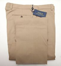 NEW Polo Ralph Lauren Slim Fit Beige Flat Front Cotton Trouser Dress Pants 34
