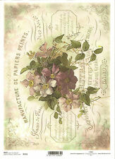 Rice Paper for Decoupage Scrapbooking, Vintage Flowers Purple Clematis ITD R716