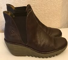 Chocolate Brown Fly London Yoss Wedge Ankle Boots Size 5 Eu 38