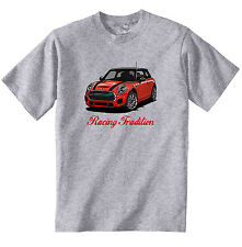 MINI COOPER RED INSPIRED RACING - NEW COTTON GREY TSHIRT - ALL SIZES IN STOCK