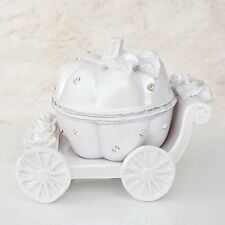 Cinderella Pumpkin Coach White and Rhinestone Jewelry Box Wedding Decor Topper
