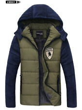 Mens Winter Warm Zip Down Hoodie Coat Hooded Outerwear Jacket Quilted Overcoat
