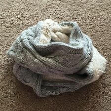 NWT $88 Abercrombie Fitch Women Knit Infinity Eternity Scarf Lined GREY