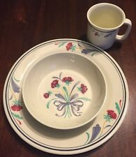 Lenox Poppies on Blue Dinnerware For Kids Set Plate Bowl Cup non-breakable
