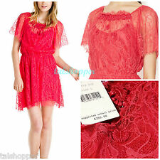 NWT 12 L $350 FREE PEOPLE Boho Candy RED Cherry POP Beaded Vintage LACE Dress