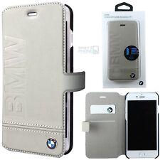 """BMW Echtleder Handy Cover iPhone 7 4,7"""" Book Case Schutz Hülle Tasche beige"""