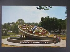 Frankfort Kentucky KY Floral Clock Capital Grounds Chrome Postcard 1960s Vtg
