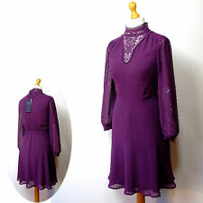 New M&S Silky VICTORIAN STYLE Lace Collar DRESS ~ Size 16 ~ BLACKCURRANT
