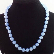 """10MM NATURAL BLUE JADE ROUND GEMSTONE BEADS NECKLACE 18"""" AAA+"""