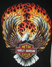 Vintage 1990 Holoubek Harley Davidson Shirt Medium Flaming Bald Eagle