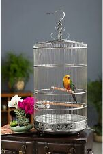 Dynasty Bird Cage Sturdy Stainless Steel Silver Embossed Decorative Design New