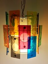 Gorgeous Working Mid Century Lucite Panels Pendant Hanging Light Swag Lamp Eames