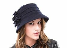 BRAND NEW LADIES NAVY WOOL KNITTED WINTER CLOCHE STYLE HAT MELANIE