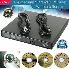 External USB 2.0 Lightscribe DVD CD RW Drive Burner ReWriter for Mac Windows PC
