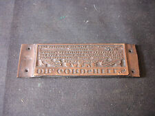 Old Vtg Collectible Brass Printing Plate Dr. Cordshette's Baltimore Maryland