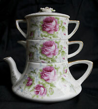 Stacking Tea Pot, Creamer, and Sugar Bowl with Pink Roses by Lefton China
