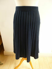 BNWT  Pure Collection 30% cashmere 70% lambswool knitted full navy skirt  size S