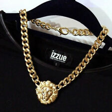 CELEBRITY STYLE CHUNKY CHAIN NECKLACE LION HEAD GOLD STATEMENT QUEEN FASHION