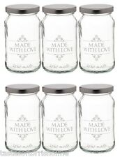 Kitchen Craft Set of 6 x 1lb / 454ml Glass Jam 'Made With Love' Jar & Twist Lid