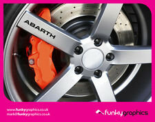 FIAT ABARTH 500 LOGO ALLOY WHEEL DECALS STICKERS GRAPHICS x5 IN BLACK VINYL