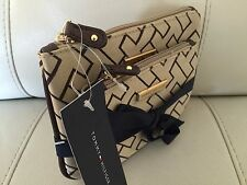TOMMY HILFIGER MONOGRAM BEIGE BROWN 2 COSMETIC BAG CASE TOILETRY POUCH $48 NWT