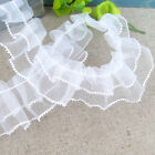 DIY New 1yd Ruffled Sewing Lace Ribbon Craft White Mesh Pleated Gathered Trim