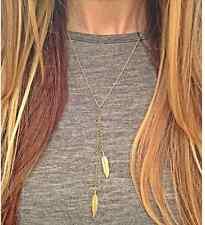 Bohemian in filigrana Y-catena collana oro style blogger simple Piume da Donna