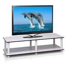 Furinno JUST Wide TV Stand White w-Espresso Edging 11175WH-EX-WH TV Stand NEW